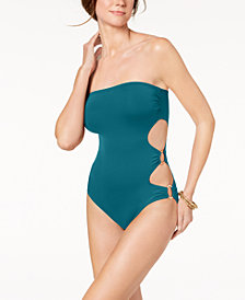 Vince Camuto Cut-Out Side Bandeau One-Piece Swimsuit