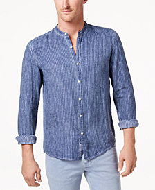 Michael Kors Men's Cold-Dyed Stripe Band-Collar Linen Shirt