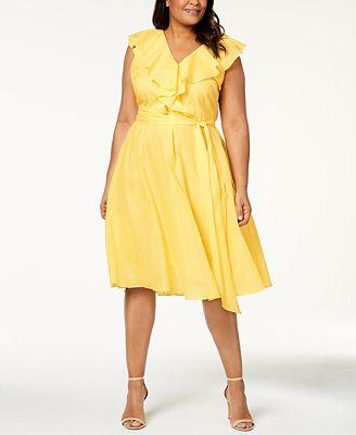 Calvin Klein Plus Size Cotton Ruffled Fit Flare Dress Dresses