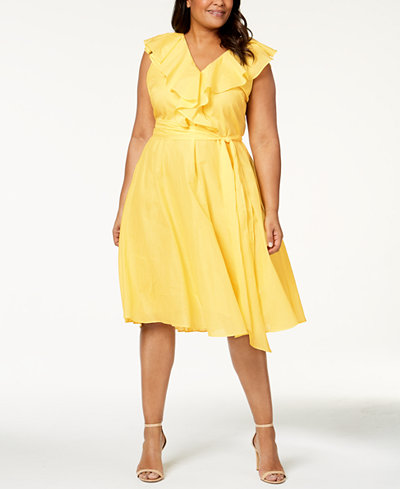 Calvin Klein Plus Size Cotton Ruffled Fit & Flare Dress