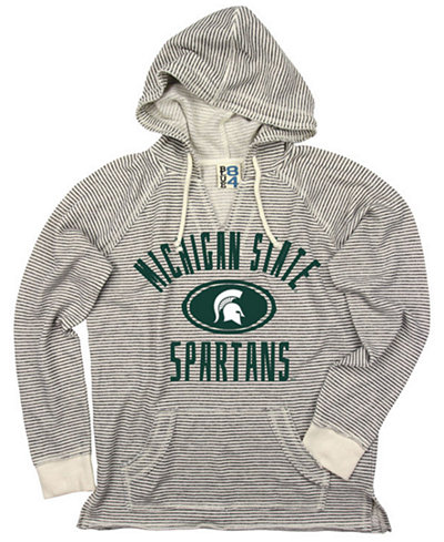 Blue 84 Women's Michigan State Spartans Striped Terry Hooded Sweatshirt