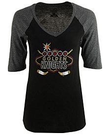 Majestic Women's Vegas Golden Knights Las Vegas Logo Raglan T-Shirt