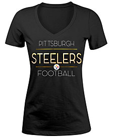5th & Ocean Women's Pittsburgh Steelers Foil V-Neck T-Shirt