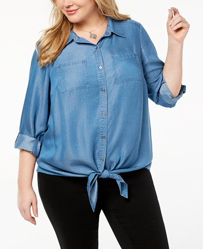 Style & Co Plus Size Relaxed Denim Shirt, Created for Macy's
