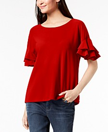 INC Ruffled-Sleeve Top, Created for Macy's