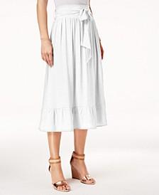 Petite Tie-Waist Ruffle-Hem Midi Skirt