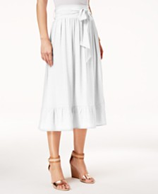NY Collection Petite Tie-Waist Ruffle-Hem Midi Skirt