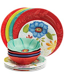 Gibson Flora Melamine 12-Pc. Dinnerware Set, Service for 4