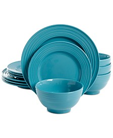 Gibson Plaza Café Turquoise 12-Pc. Dinnerware Set, Service for 4