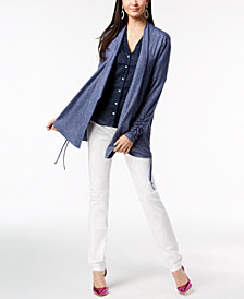 I.N.C. Ruched Cardigan, Linen Shirt & Skinny Jeans, Created for Macy's