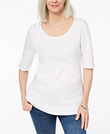 Karen Scott Cotton Laced-Shoulder T-Shirt, Created for Macy's