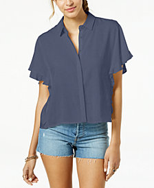 Freshman Juniors' Ruffle-Sleeved Button-Front Cropped Blouse