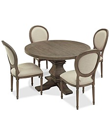 Tristan Round Expandable Dining 5-Pc. Set (Table & 4 Side Chairs)