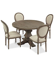 Tristan Round Expandable Dining Furniture, 5-Pc. Set (Table & 4 Side Chairs)