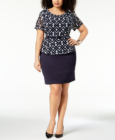 Connected Plus Size Belted Peplum Dress