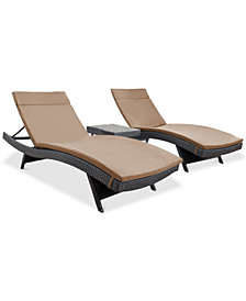 Lucinda Outdoor 3-Pc. Chaise Lounge Set, Quick Ship
