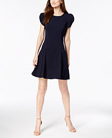 Vince Camuto Ruffle-Sleeve Fit & Flare Dress