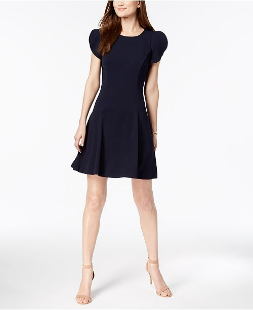 a3c87fc12 Vince Camuto Ruffle-Sleeve Fit & Flare Dress & Reviews - Dresses ...