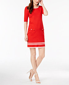 Anne Klein Contrast-Knit Shift Dress
