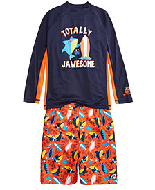 Laguna 2-Pc. Jawsome Rash Guard & Swim Trunks Set, Little Boys