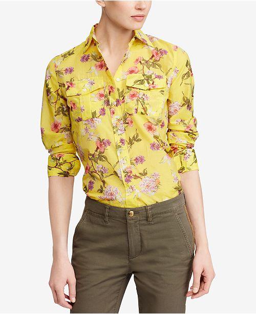 92df152c1 Lauren Ralph Lauren Floral-Print Shirt   Reviews - Tops - Women ...