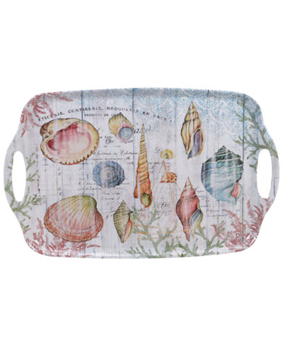 Certified International Sanibel Melamine Rectangular Handled Tray