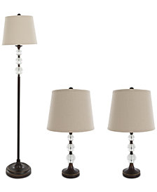 Lavish Home Crystal Ball Set Of 3 Lamp Set