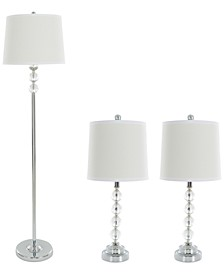 Set of 3 Crystal Lamp Set