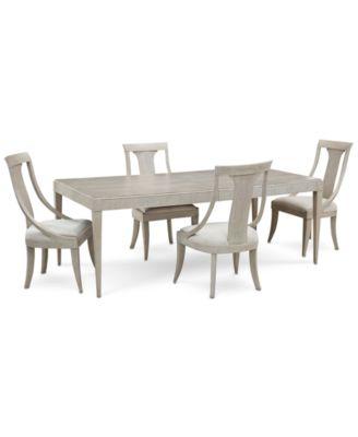 Furniture Rachael Ray Cinema Rectangular Expandable Dining Furniture - Rectangular dining table and 4 chairs