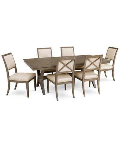 Bridgegate Rectangular Expandable Dining Furniture, 7-Pc. Set (Dining Table & 6 Upholstered Back Side Chairs)