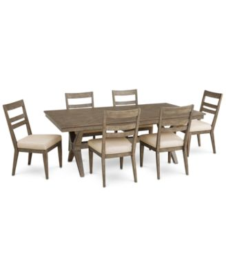 Bridgegate Rectangular Expandable Dining Furniture, 7-Pc. Set (Dining Table & 6 Slat Back Side Chairs)