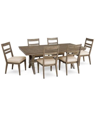 Bridgegate Rectangular Expandable Dining Furniture, 7-Pc. Set (Dining Table & 6 Slat Back Side Chairs)