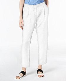 Eileen Fisher Linen Blend Pleated Ankle-Length Pants, Regular & Petite