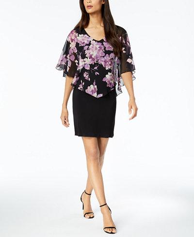 Connected Petite Floral-Print Chiffon Capelet Dress