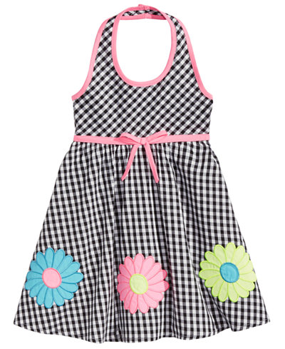 Blueberi Boulevard Floral Appliqué Gingham Cotton Sundress, Toddler Girls
