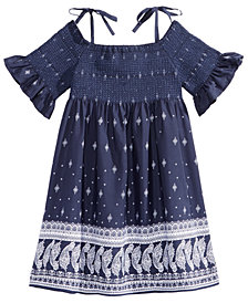 Bonnie Jean Off The Shoulder Border-Print Peasant Dress, Toddler Girls