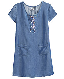 Epic Threads Chambray Lace-Up Shirt Dress, Big Girls, Created for Macy's