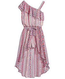 Sequin Hearts One Shoulder Maxi Romper, Big Girls