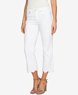 Embroidered Scalloped Hem Jeans by Ce Ce