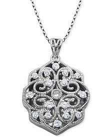 "Giani Bernini Cubic Zirconia Scalloped Filigree Heart Locket 18"" Pendant Necklace in Sterling Silver, Created for Macy's"