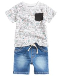 First Impressions Printed T-Shirt & Denim Shorts Separates, Baby Boys, Created for Macy's