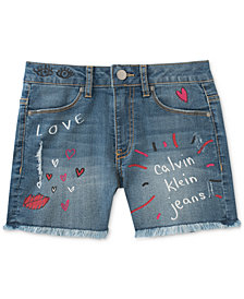 Calvin Klein Scribble Cut-Off Shorts, Big Girls