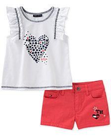 Tommy Hilfiger 2-Pc. Top & Denim Shorts Set, Little Girls