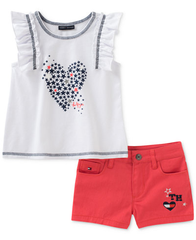 Tommy Hilfiger 2-Pc. Top & Denim Shorts Set, Little Girls