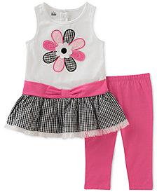 Kids Headquarters 2-Pc. Gingham Flower Tunic & Leggings Set, Little Girls