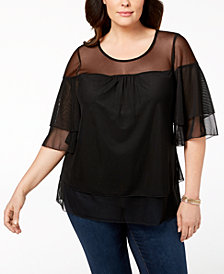 NY Collection Plus Size Layered Illusion Top