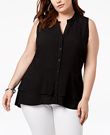 Love Scarlett Plus Size Split-Neck Blouse