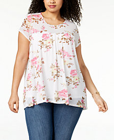 NY Collection Plus Size Floral-Print Babydoll Top