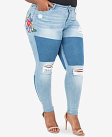 Poetic Justice Trendy Plus Size Patched Ripped Skinny Jeans