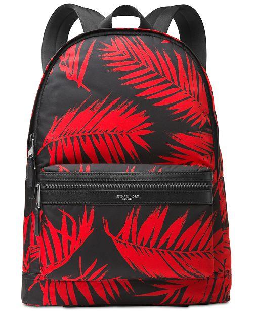 91fe0adb3eb4 Michael Kors Men s Kent Palm-Print Backpack   Reviews - All ...